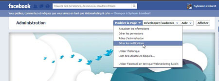 Gérer notification page facebook
