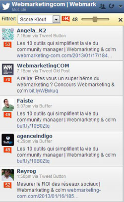 e-reputation filtre klout hootsuite