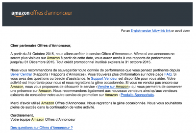 Email - fin des amazon product ads