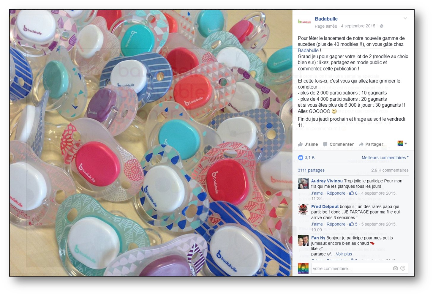 Jeux concours Facebook Badabulle