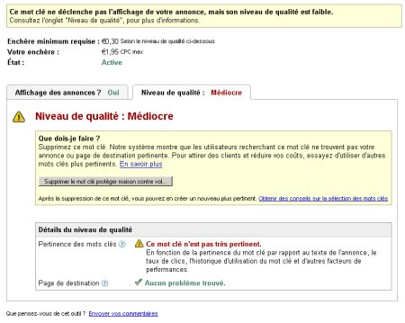 Adwords analyse qualité mot-clé