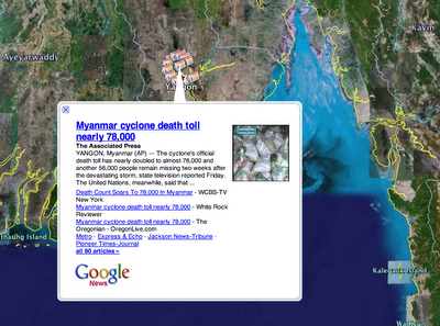 Google News dans Google Earth