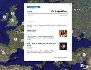 New York Times dans Google Earth
