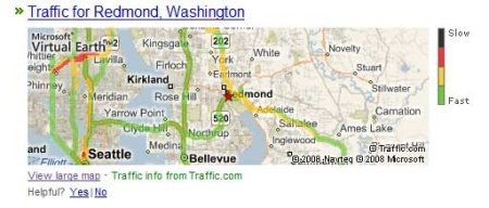 Trafic routier sur Live Search aux USA