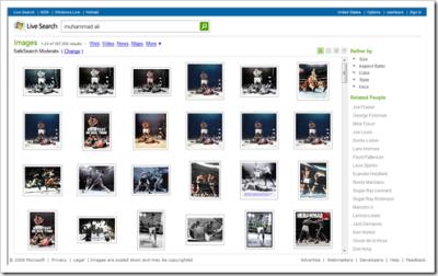 Le moteur affichera une page de résultats avec des images liées