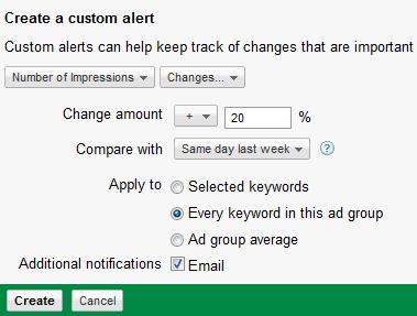 creation alerte personnalisee adwords