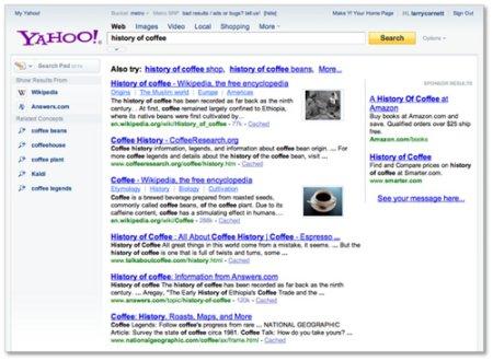 nouveaux resultats recherche yahoo