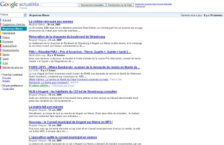 google actualités localiser