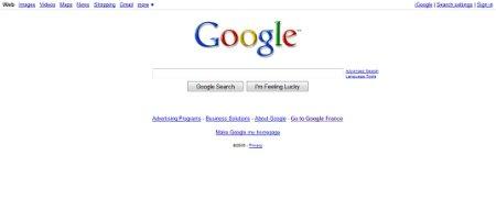 google homepage avant