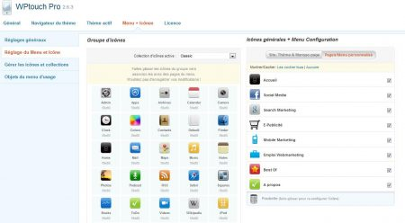 WP touch pro personnalisation icônes site mobile