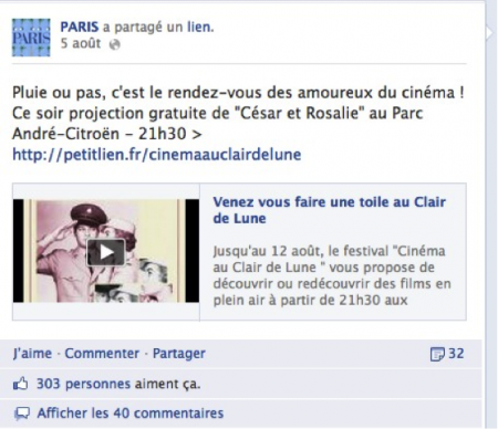 Page Facebook Paris événements