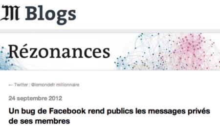 Bug facebook message privé public