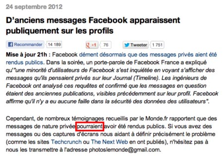 Conditionnel bug message facebook