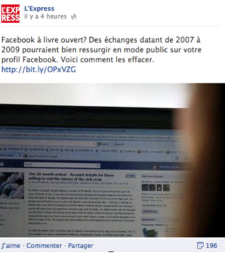 Facebook message privé public express