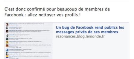 Le monde facebook bug facebook