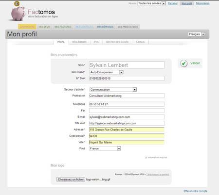 Factomos gestion devis facture en ligne