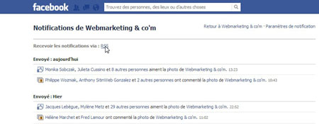 Notifications page facebook rss