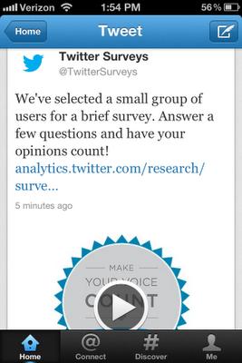 Les clients choisis par Twitter pour Twitter Surveys