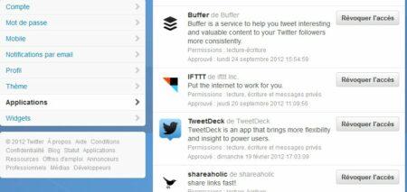 On peut supprimer ou rétablir facilment les accès à Twitter