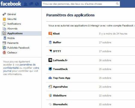Il est possible de contrôler les acccès de toutes les applications sur son compte Facebook