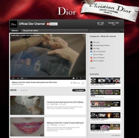 YouTube de Dior