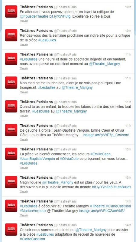 Live tweet théâtres parisiens