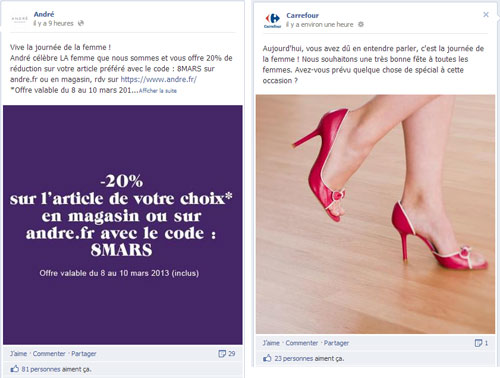journée internationale des droits des femmes sur Facebook