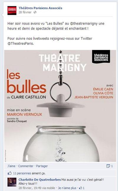 live post facebook théâtres parisiens