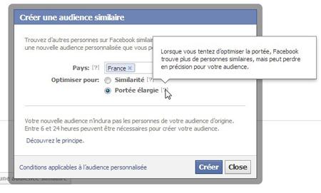 créer une audience similaire facebook portée élargie