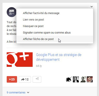 google plus afficher echo