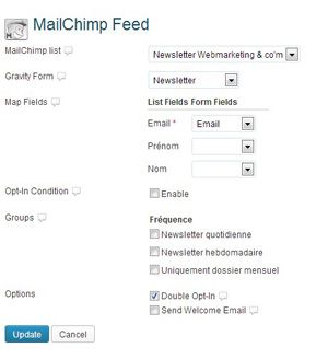 Créer une newsletter : mailchimp feed gravity forms