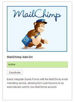 Créer une newsletter : plugin mailchimp gravity forms