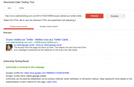 L'interface 'Structured Data Testing Tool' (SDTT) de Google