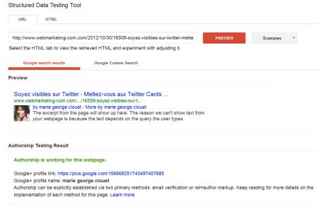 L'interface 'Structured Data Testing Tool' (SDTT) de Google