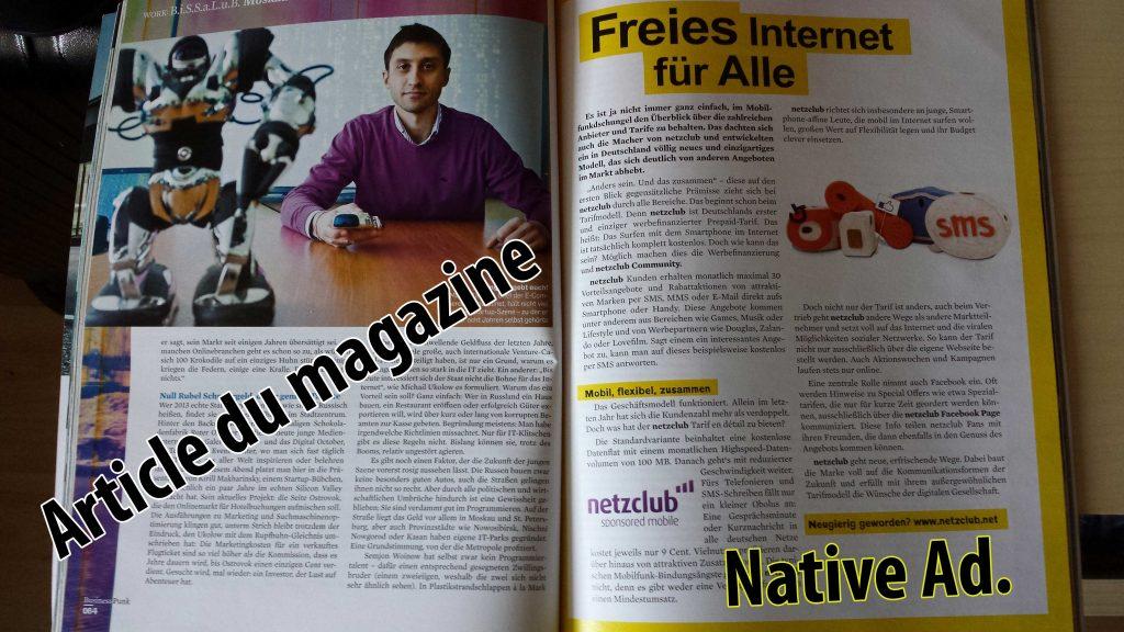 Exemple de Native Advertising trouvé dans l'édition de Business Punk (All.)