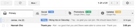 le nouveau format Gmail à onglet