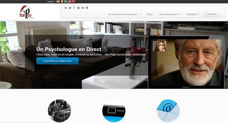 page d'accueil d'un site de consultation de psy en ligne, TonPsy.fr