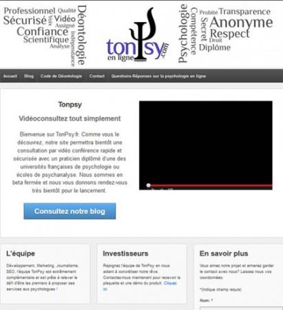 ancienne page d'accueil de TonPsy.fr