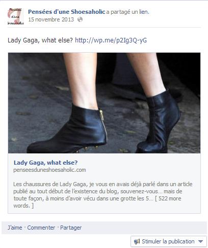 Capture d'écran de la page Facebook Pensées d'une Shoesaholic