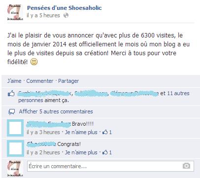 Capture d'écran de la page Facebook de Pensées d'une Shoesaholic