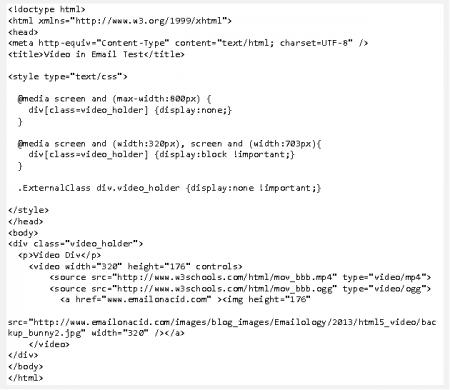 Code HTML5 pour insérer la vidéo dans l'email