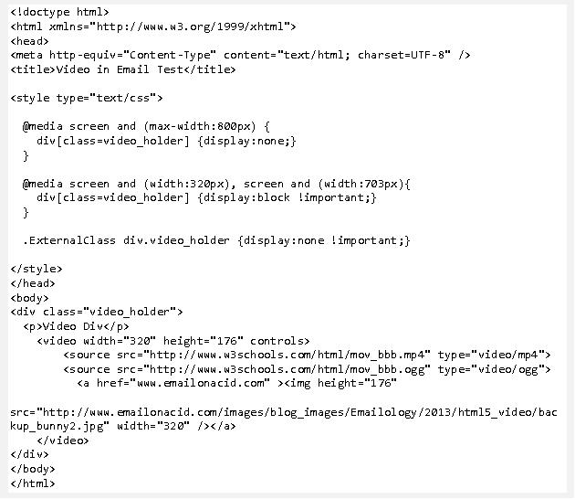 Code HTML5 Pour Inserer La Video Dans Lemail