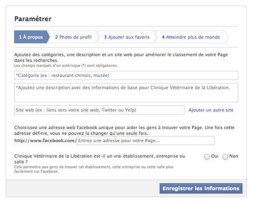Créer une page Facebook - Paramètre A Propos