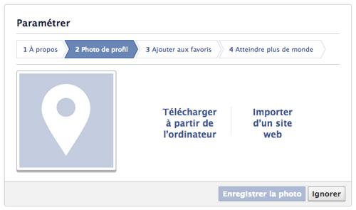 Créer une page Facebook - Paramètre Photo de profil
