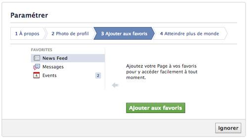Créer une page Facebook - Paramètre Ajouter aux favoris