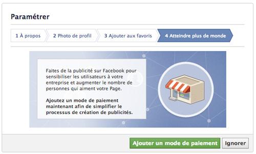 Créer une page Facebook - Paramètre Ajouter mode de paiement