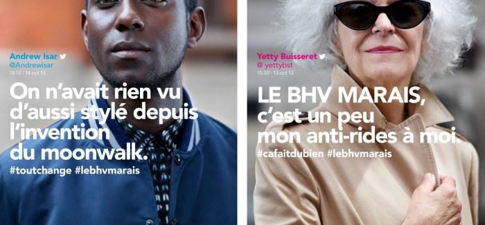 Digital: Dans sa dernière campagne publicitaire, le BHV Marais place les habitants du Marais en tant que Twittos ...