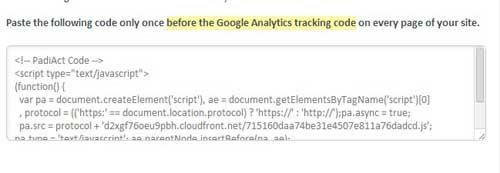 code tracking padiact