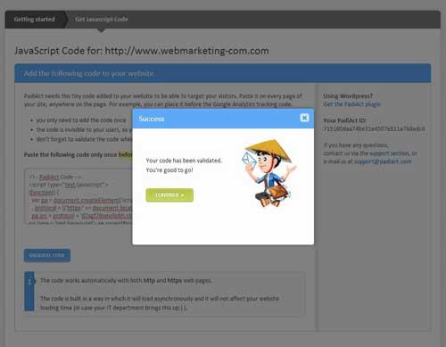 validation code tracking padiact