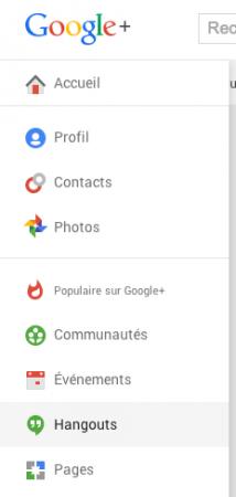 Google HangOut  menu